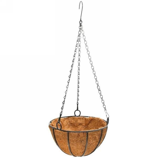 Горшок для цветов 25 см Подвесной, с кокосовой корзиной// Palisad 69001