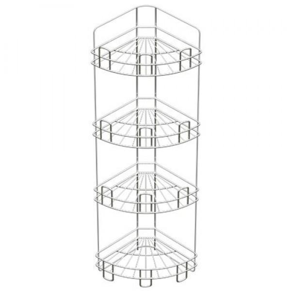 Полка для ванной угл.глубокая 4ярусн.хром (24х24х87)