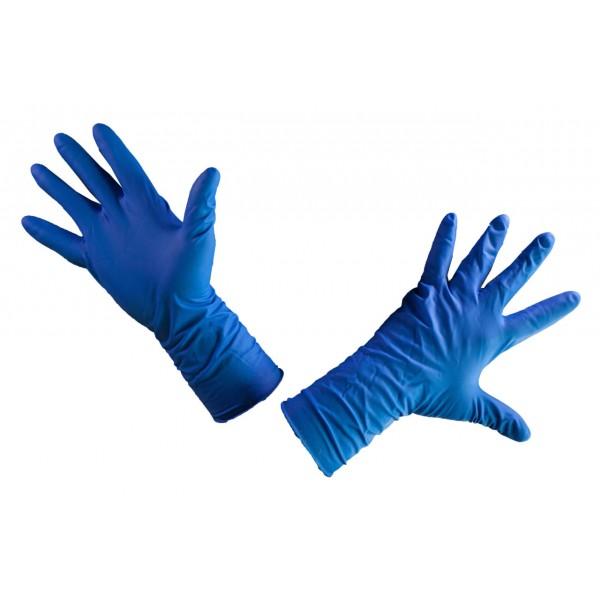 Перчатки латексные Household Gloves High Risk, СИНИЕ, М (13г) KHR002 /25 пар в уп/250 (max 150пар)