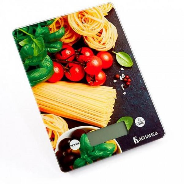 Весы кухонные электронные ВАСИЛИСА Итальянская кухня 5кг стекло ВА-014