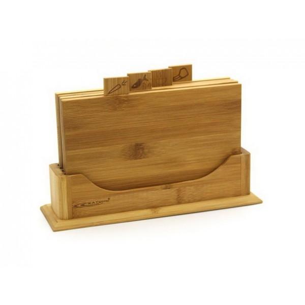 Доска разделочная набор 5пред 22*16*0,8см бамбук КТ-НД-07