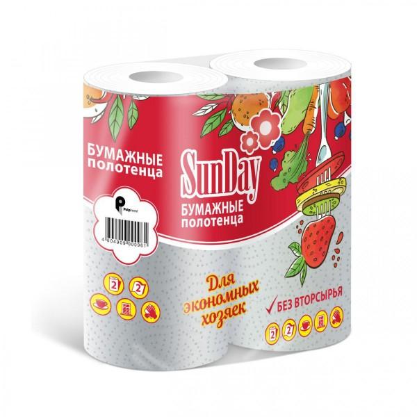 Полотенце бумажное SunDay белое 2-х сл 2рул