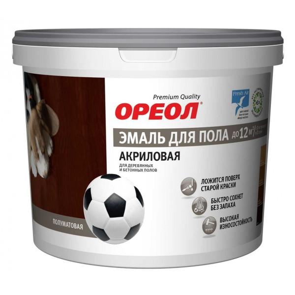 Эмаль акриловая для пола Ореол п/мат. зол-кор. 2.3 кг