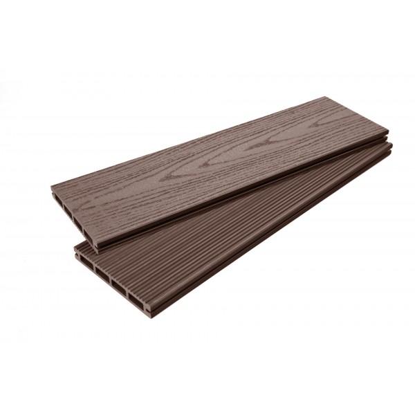 Террасная доска ТД 140*25 Шлиф. Тиснение Шоколад L-3м