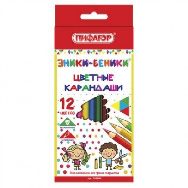 """Карандаши цветные """"ПИФАГОР ЭНИКИ-БЕНИКИ"""" 12цв 181346"""