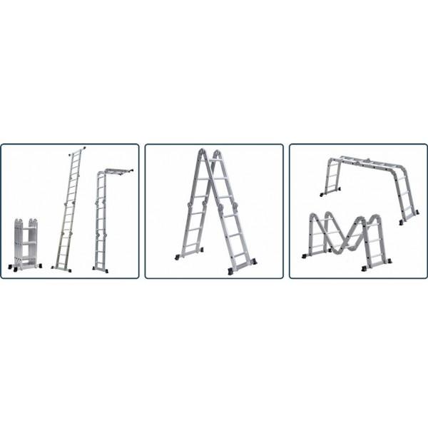 Лестница алюм. трансформер 4х6 Сарайлы Турция (60x25x1,25мм; высота 174/325/671; вес 17,40кг)