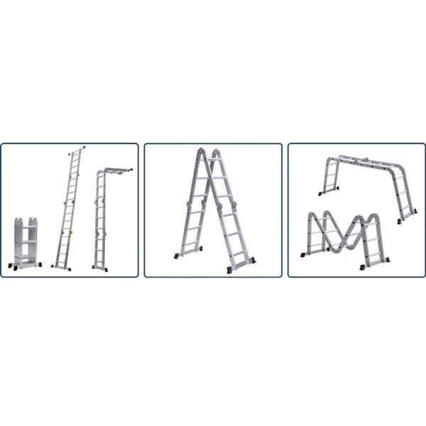 Лестница алюм. трансформер 4х3 Сарайлы Турция (60x25x1,25мм; высота 94/167/346; вес 11,80кг)
