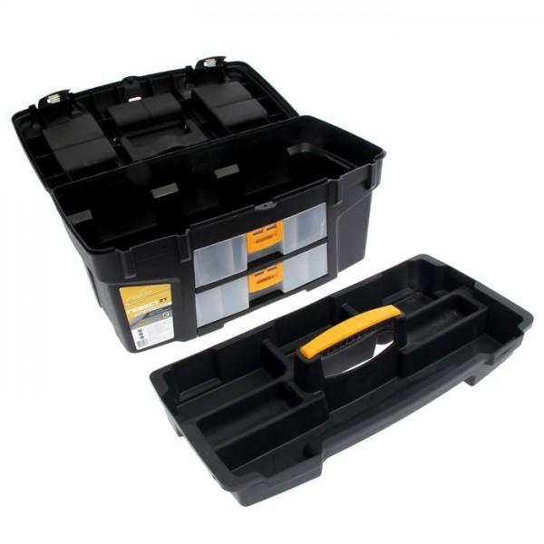 """Ящик для инструментов ГЕФЕСТ 21""""  металл.замки (с двумя консолями и секциями) черный с желтым"""