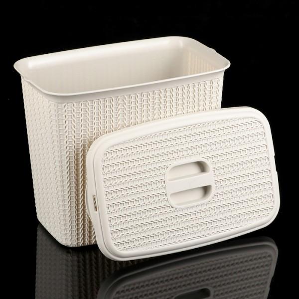 Контейнер для стирального порошка ВЯЗАНИЕ  6л (белый ротанг)
