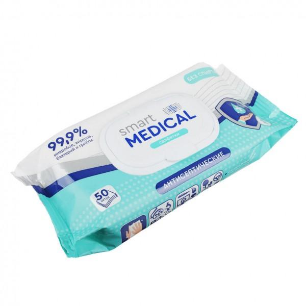 Влажные салфетки антисептические Смарт Медикал 50шт