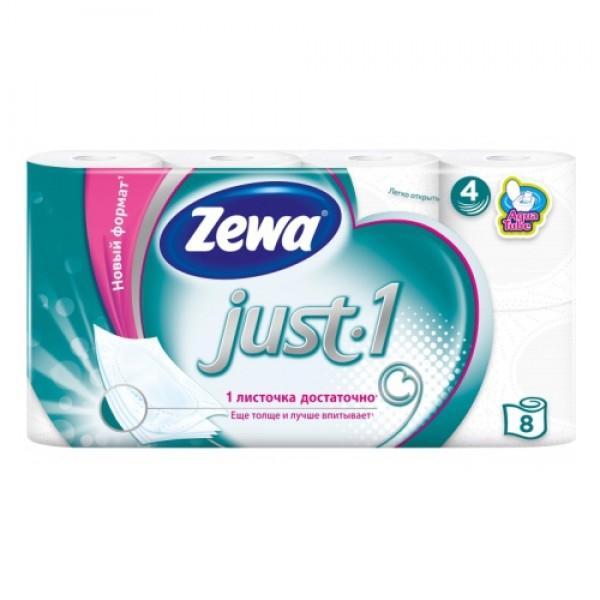 Туалетная бумага Zewa Just.1 4шт БЕЛАЯ