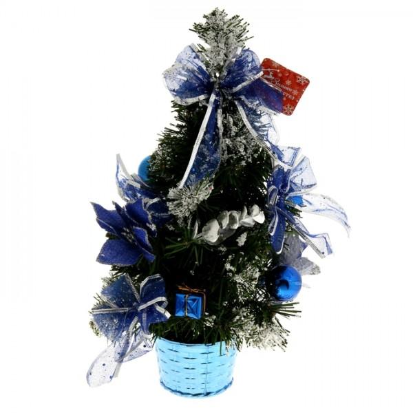 Елка декор. 30см синяя пуансетия в снегу