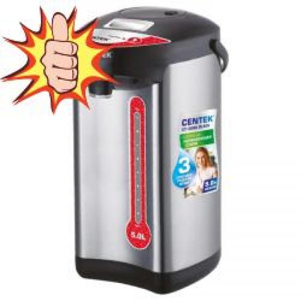 Термопот Centek CT-0082 Black (черн), 5л, 750Вт, 3 способа подачи воды, корпус из нержавеющей стали