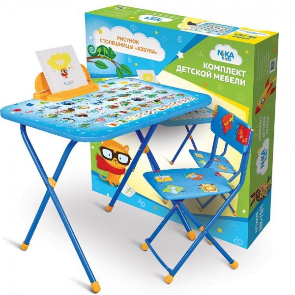 Стол + стул с мягк. сиденьем (детский комплект) NK-75/1 с Азбукой) НИКА