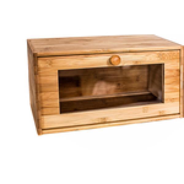 Хлебница с прозрачной дверцей 38,5х22х19см бамбук BRAVO