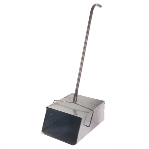 Совок для мусора металлический с крышкой Ловушка 24*29см с деревянной ручкой 75см