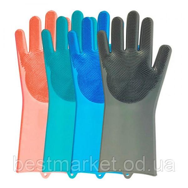 Перчатки латексные для посуды плотные Ладонь-щетка 1/100