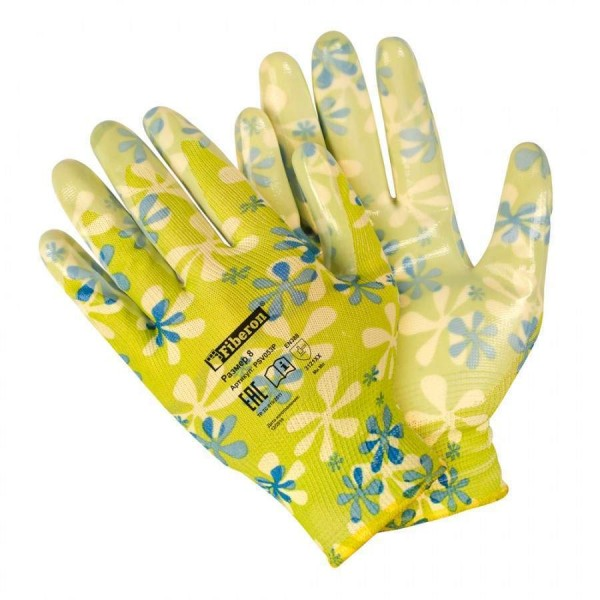 Перчатки полиэстеровые Для садовых работ нитрил.покрытие микс цветов Fiberon M