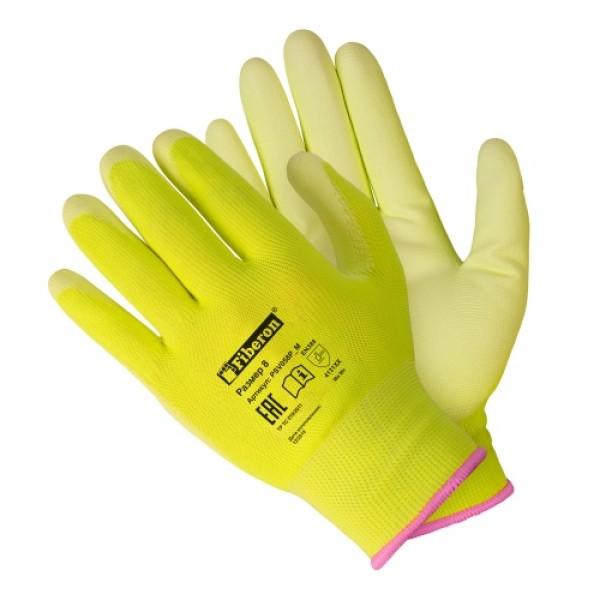 Перчатки полиэстеровые Для садовых работ полиурет.покрытие однотонные Fiberon M