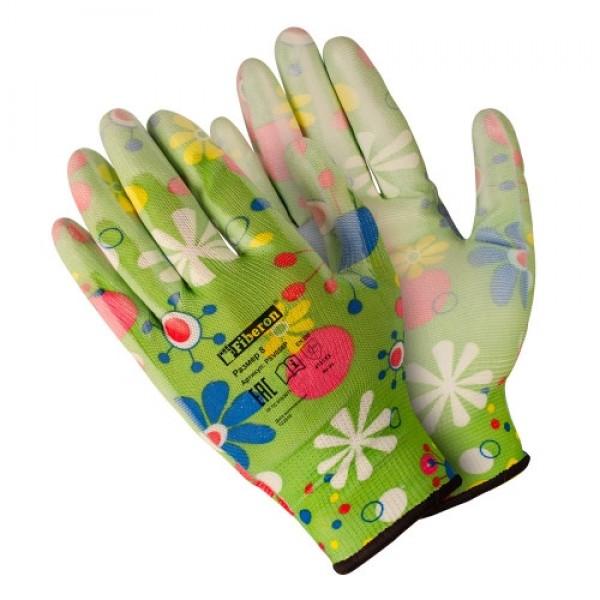 Перчатки полиэстеровые Для садовых работ полиурет.покрытие разноцветные Fiberon M