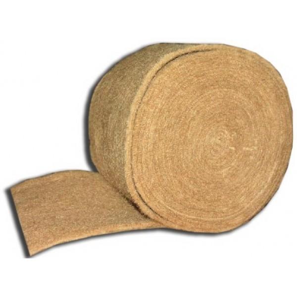 Лента джутовая (пакля) 100мм*5-6мм*20м для прокладки м/у бревен (иглопробивной) (цена за шт.)  10/10