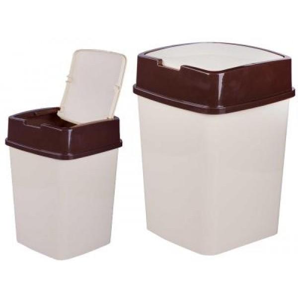 Контейнер для мусора 8л квадратный (слон. кость) (Альтернатива) М7196